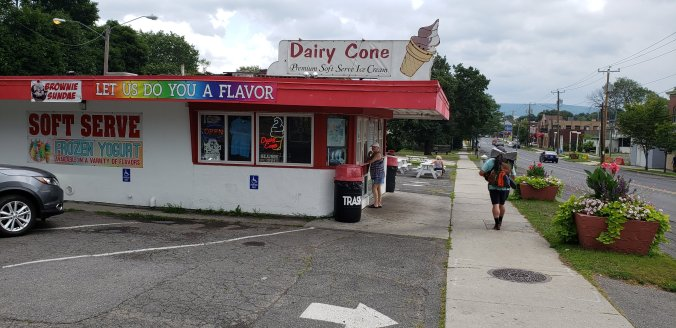 Dairy Cone Ice Cream in Pittfield with white exterior and red roof.
